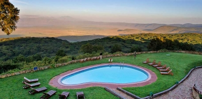 View of the Ngorongoro Crater from Sopa Lodge
