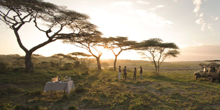 Sundowner On Safari In The Serengeti